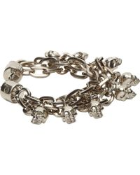 Alexander McQueen Silver Multi_chain Skull Pendant Bracelet - Lyst