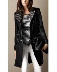Burberry Long Leather Detail Biker Trench Coat - Lyst