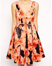Bardot Full Dress In Watercolour Floral Print - Lyst