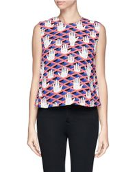 Opening Ceremony Graphic Print Trompe Loeil Crepe Blouse - Lyst