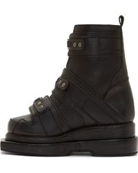 KTZ - Black Leather Stacked Sole Boots - Lyst