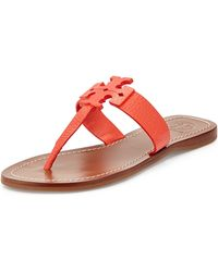 Tory Burch Moore Leather Thong Sandal - Lyst