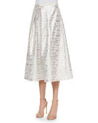 Phoebe Jacquard Midi Ball Skirt - Lyst