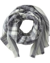 Hat Attack Gray Plaid Scarf - Lyst