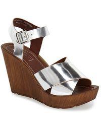 Topshop 'Worldie' Wedge Sandal silver - Lyst