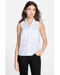 Trouvé Sleeveless Poplin Shirt white - Lyst