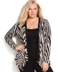Calvin Klein Plus Size Striped Reversible Cardigan - Lyst