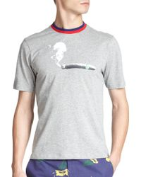 Band of Outsiders Cigar Print Cotton Tee gray - Lyst