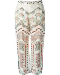 Etro Printed Raw Seams Trousers - Lyst