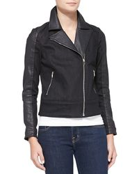 7 For All Mankind Mixed-fabric Moto Jacket - Lyst