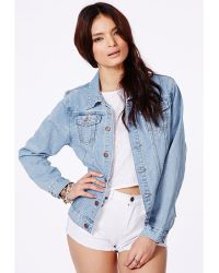 Missguided Carelyn Denim Jacket In Vintage Wash - Campaign - Lyst