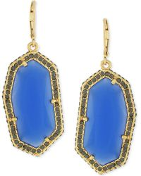 Vince Camuto - Gold-plated Blue Stone Pave Drop Earrings - Lyst