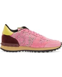 Valentino Pink Lace and Burgundy Suede Sneakers - Lyst
