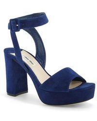 Miu Miu Block Heel Platform Sandal blue - Lyst
