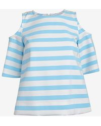 Tanya Taylor Shoulder Cut Out Striped Top - Lyst