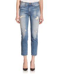 Genetic Denim Birkin High-Rise Distressed Cropped Straight-Leg Jeans blue - Lyst