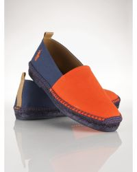 Ralph Lauren Orange Canvas Espadrille - Lyst