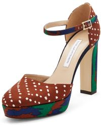 Diane von Furstenberg Mika Close Toe Platform Heels green - Lyst