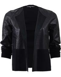 René Lezard - Knit And Leather Cardigan - Lyst