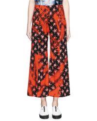 Acne | 'olexa' Sakura Print Cropped Flare Pants | Lyst