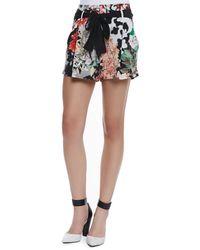 Roberto Cavalli Silk Floral-print Sash-tie Shorts - Lyst