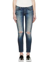 Rag & Bone Blue Faded Zipper Capri Jeans - Lyst