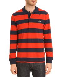 Lacoste Ml Striped Red Navy Polo - Lyst