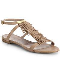 Chloé Leather Fringe Flat Sandals - Lyst