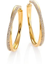 Michael Kors Brilliance Statement Pave Crossover Goldtone Hoop Earrings/1.75 - Lyst