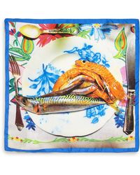 Etro Silk Fish-Print Pocket Square - Lyst