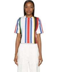 Marni Red And White Striped Short Sleeve Sweatshirt - Lyst