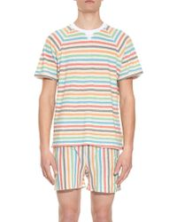 Robinson Les Bains - Striped Cotton-Blend Jersey T-Shirt - Lyst