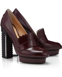 Aperlai Aubergine Leather Moccasin Z Heels - Lyst