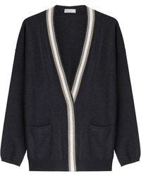 Brunello Cucinelli | Cashmere Cardigan With Micro Embellishment - Grey | Lyst