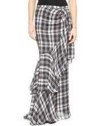 Haute Hippie Plaid Side Tuck Maxi Skirt  - Lyst