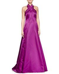 ESCADA Charmeuse Gown With Crisscross Halter - Lyst