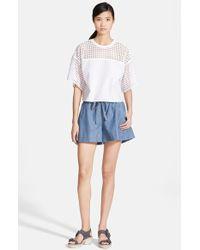 3.1 Phillip Lim Boxy Lace & Cotton Top - Lyst