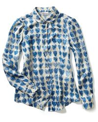 RED Valentino Heart Crayon Silk Print Blouse - Lyst