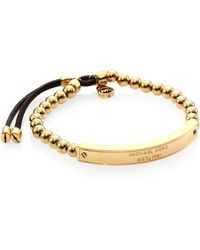 Michael Kors Logo Plaque Beaded Leather Bracelet - Lyst