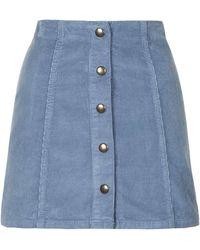 Topshop   Cord Popper A-line Mini Skirt   Lyst