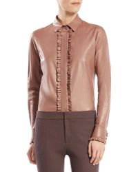 Gucci Leather Ruffle Button-down Shirt - Lyst