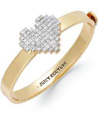 Juicy Couture - Goldtone Pixel Heart Hinged Bangle Bracelet - Lyst