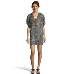 Badgley Mischka Black And Brown Patterned Chiffon 'Zara' Beaded Tunic black - Lyst
