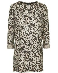 Topshop Brushed Leopard Print Sweat Dress - Lyst