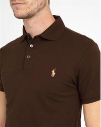 Polo Ralph Lauren   Chocolate Stretch Polo Shirt   Lyst