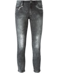 MICHAEL Michael Kors Embellished Cropped Skinny Jeans - Lyst