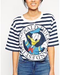 Asos T-Shirt With Donald Duck Stripe Print - Lyst