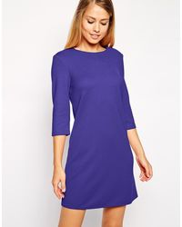 Asos Shift Dress In Textured Rib With 3/4 Length Sleeves - Lyst