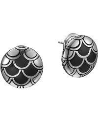 John Hardy Naga Silver Button Earrings with Black Enamel - Lyst
