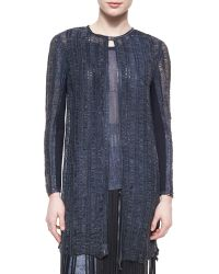Elie Tahari Melody Long Distressed Leather Coat - Lyst